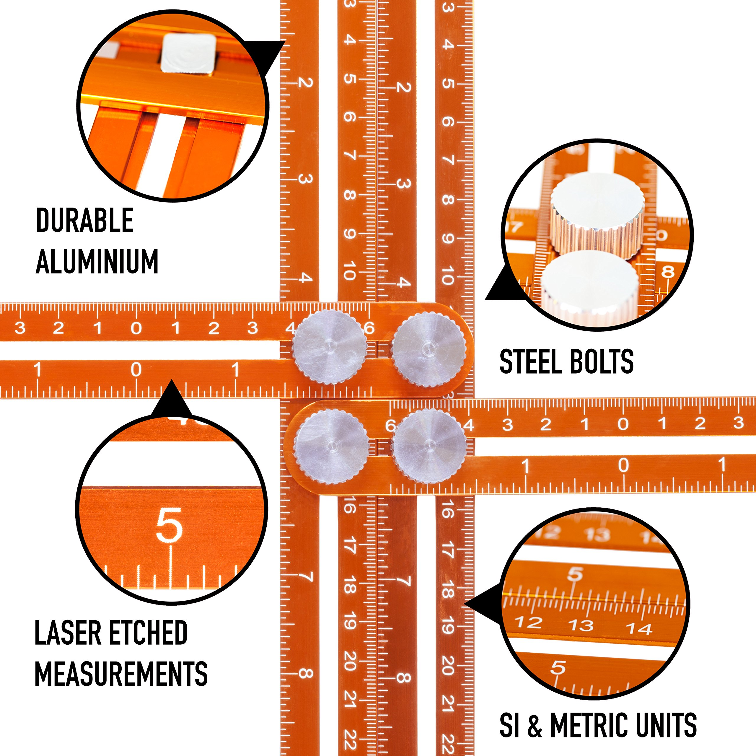 Angle Template Tool, Premium Aluminium Nook Scale Ruler, Metal Multi Functional Measuring. Instruction Leaflet. Low Profile for Accurate Measurements. Pro quality DIY, Joiners, Tilers. Great present by Twenty Percent (Image #3)