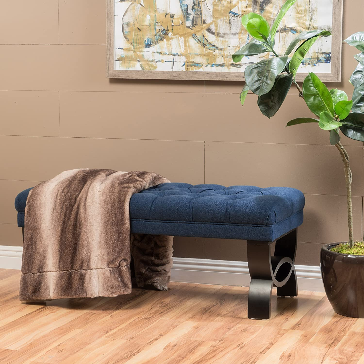 "Christopher Knight Home 299600 Living Reddington Dark Blue Tufted Fabric Ottoman Bench, 17.25""D x 41.00""W x 16.75""H"