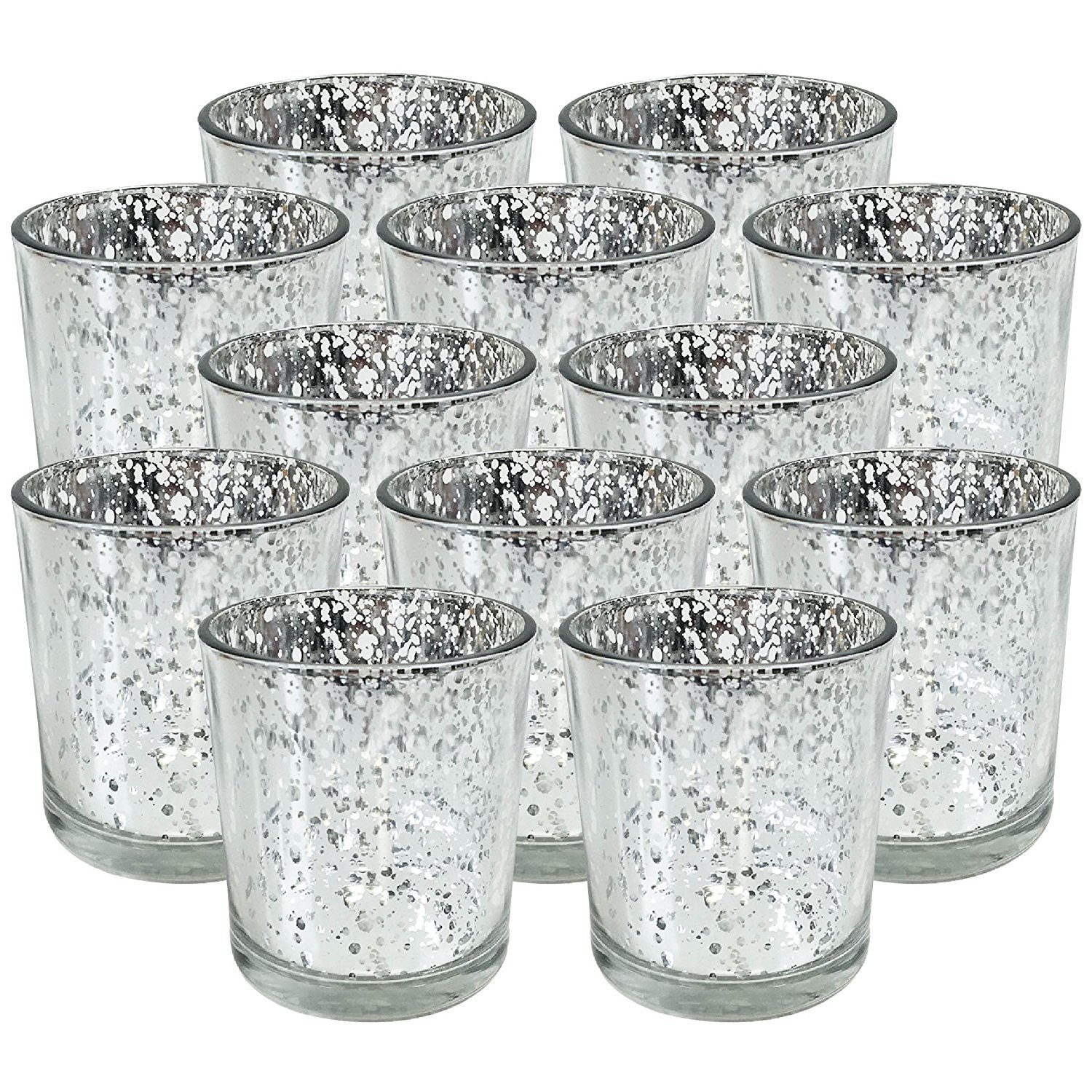 Just Artifacts Mercury GlassVotiveCandle Holder 4'' H(12pcs,Speckled Silver) - Mercury Glass Votive Tealight Candle Holders for Weddings, Parties and Home Decor