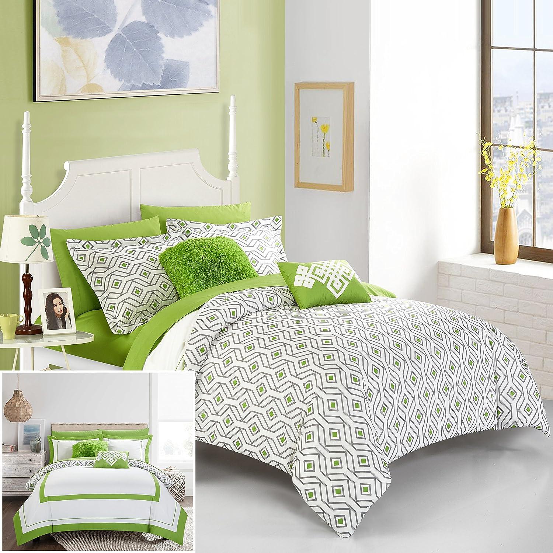 シックホーム9 Piece Beckham Contemprary幾何リバーシブル太字Linesホテルコレクションベッドでバッグ、豪華装飾枕布団セット含ま フル グリーン B075XTR9TT フル|グリーン グリーン フル