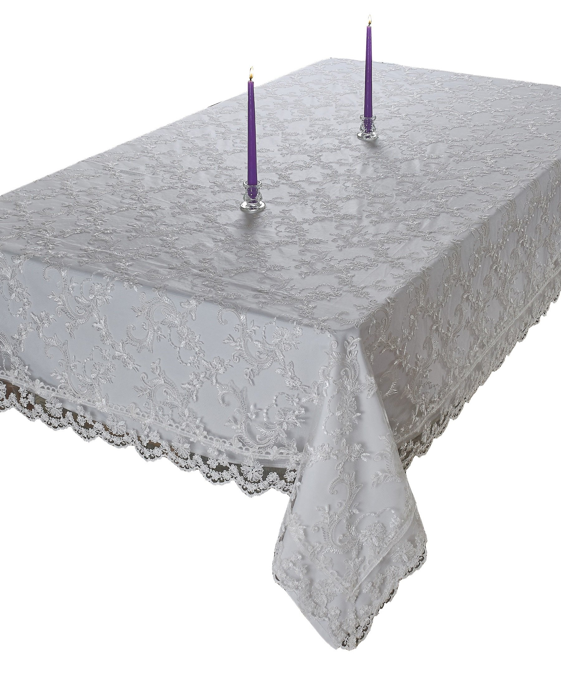 Royal-Bridal Lace With Embroidered Flowers Design Tablecloths White 70'' X 132''