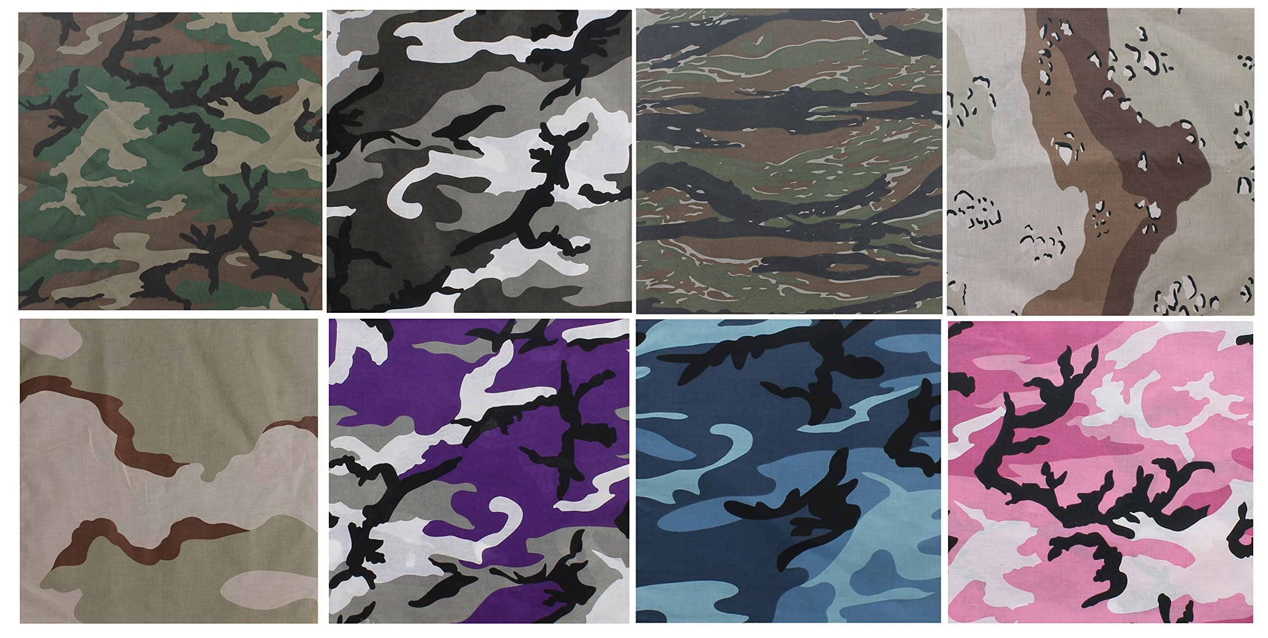 Army Universe 8 Pack - Jumbo Bandanas Camouflage Cotton Military Headwraps 27'' x 27'' by Army Universe