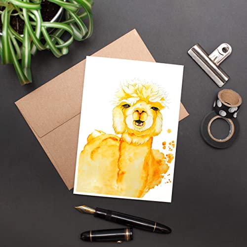 Greeting Card Yellow and Orange Alpaca Watercolor 5 x 7 12.7 x 17.8 cm - Archival Quality Ultra premium print kraft paper envelop included