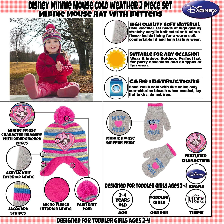 Disney - Conjunto de sombrero y manoplas de Minnie Mouse para niñas ...