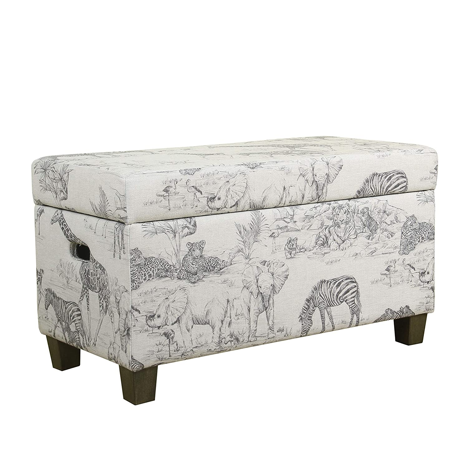 Gray brown storage bench entryway furniture wooden frameupholstered cushion top cut out handles patterned fabric foam padding bundle with our expert