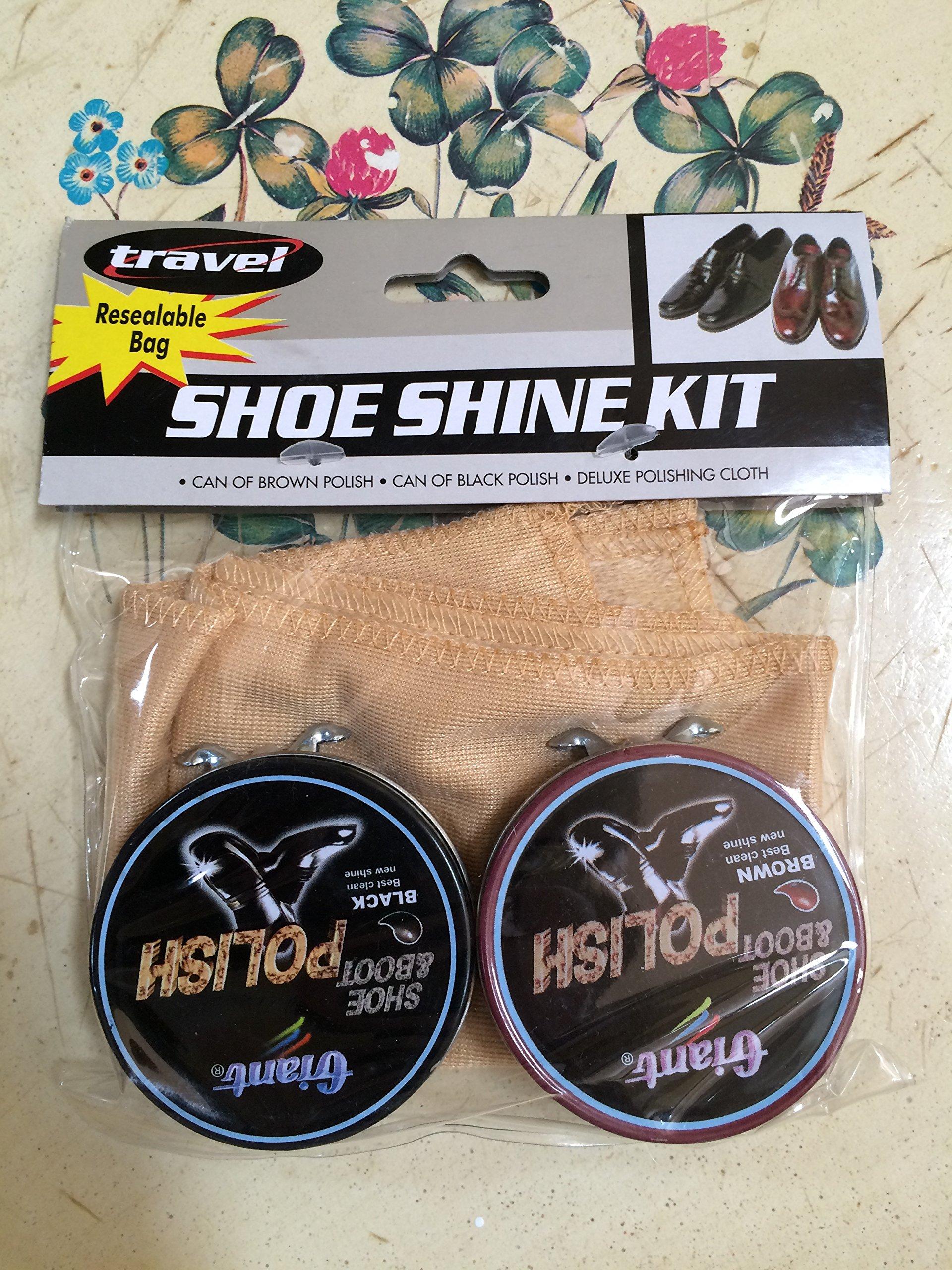 Travel Shoe Shine Kit ~ Resealable bag ~ Brown & Black