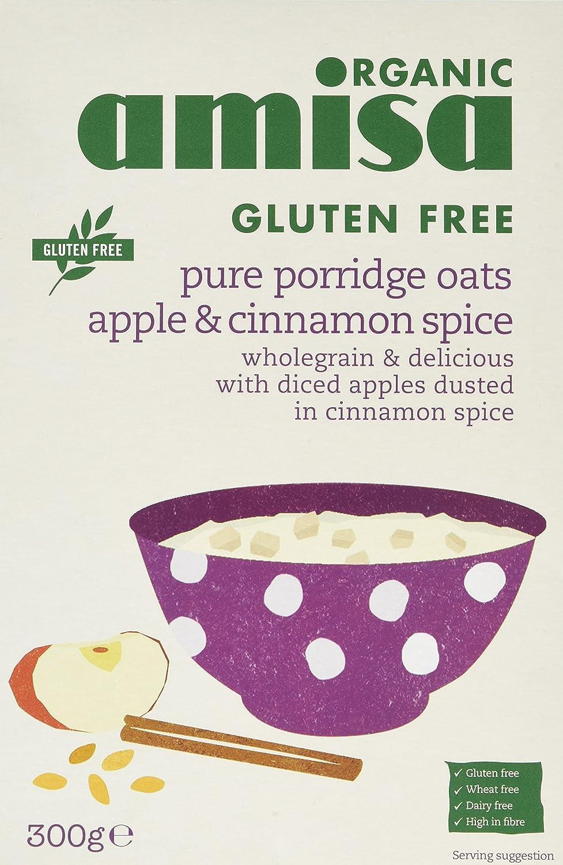 Amisa Organic Porridge Oats with Apple and Cinnamon 300g (Pack of 3) 71073