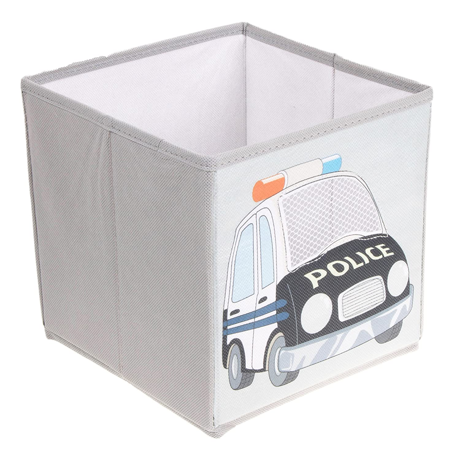 Clever Creations Police Car Collapsible Storage Organizer Storage Box Folding Storage Ottoman for Your Bedroom   Perfect Size Storage Chest for Books, Shoes & Games