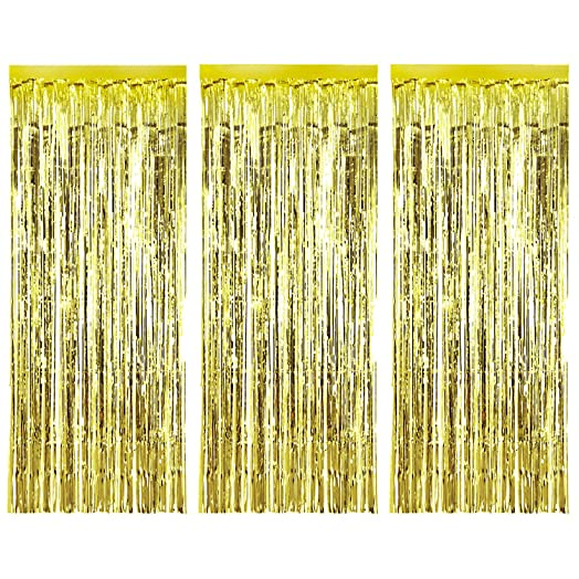 Beautiful 3 Pack Metallic Tinsel Curtains, Foil Fringe Shimmer Curtain Door Window  Decoration For Birthday Wedding