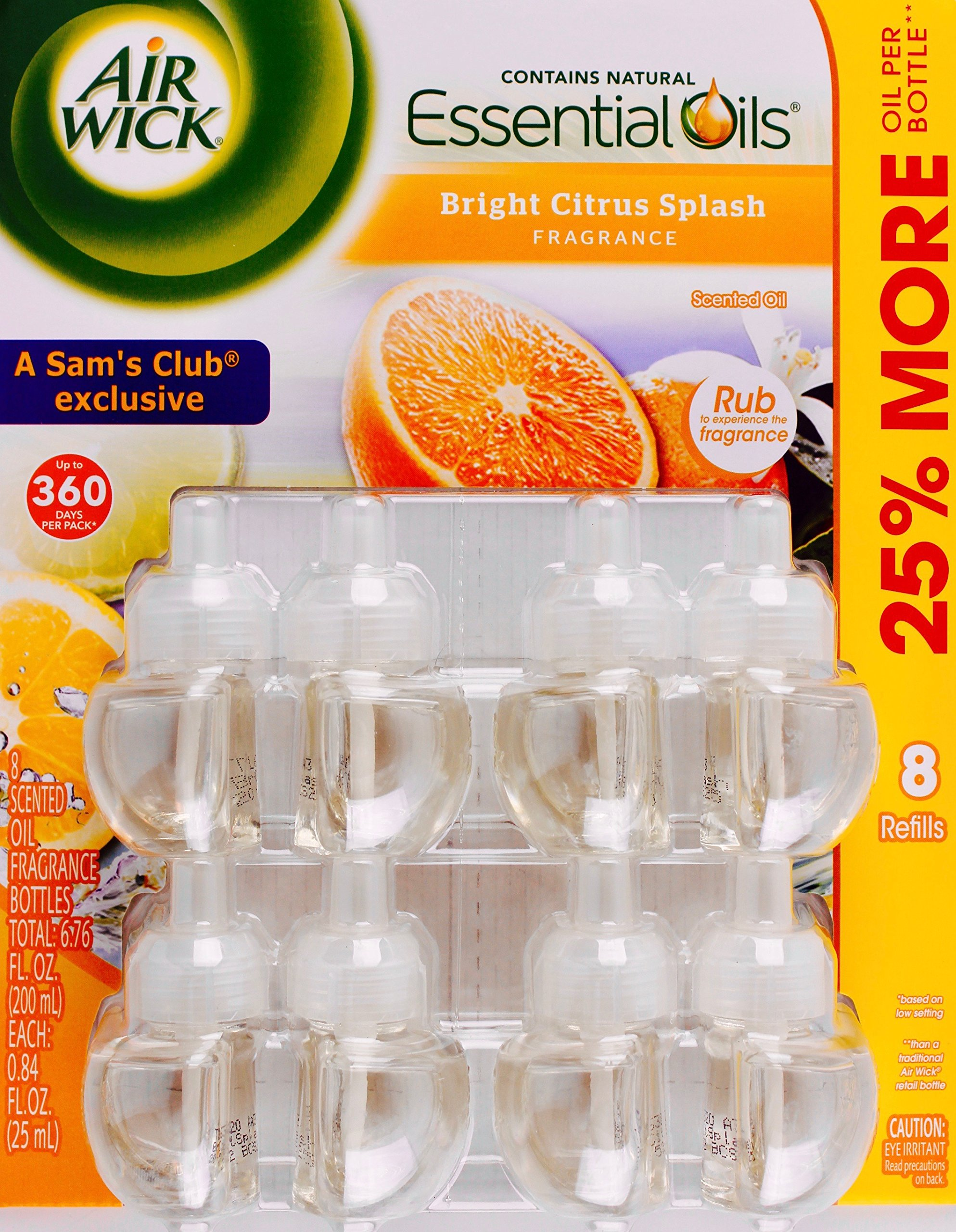 Air Wick Bright Citrus Splash Essential Scented Oils, 8 Refill Bottles