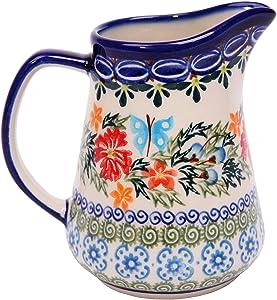 Polish Pottery Ceramika Boleslawiec, 0205/238, Pitcher Jacek 1, 1 Cup, Royal Blue Patterns with Red Cornflower and Blue Butterflies Motif