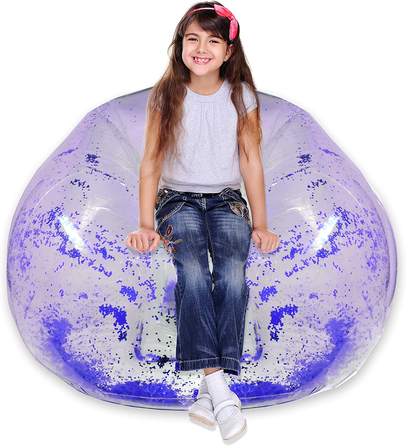 Inflatable Chair - Clear Glitter Inflatable Chair for Kids Bedrooms, Living Rooms, Indoors and Outdoors - Inflatable Chair 90's Style Furniture Glitter Blow Up Chair (Blue)