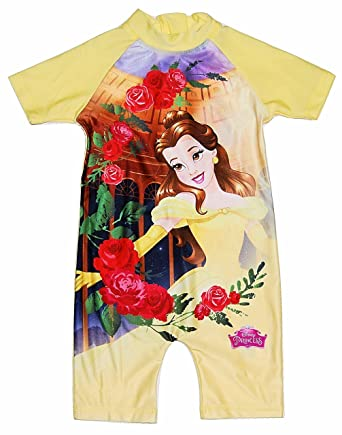 428b45439f8 Girls All in One Swimming Costume Suit Disney Princess Belle 18-24 Months  to 4