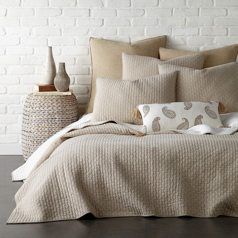 Amazon Com Levtex Home Cross Stitch Quilt Set 100 Cotton Twin 68x86in 1 Standard Shams 26x20in Taupe Kitchen