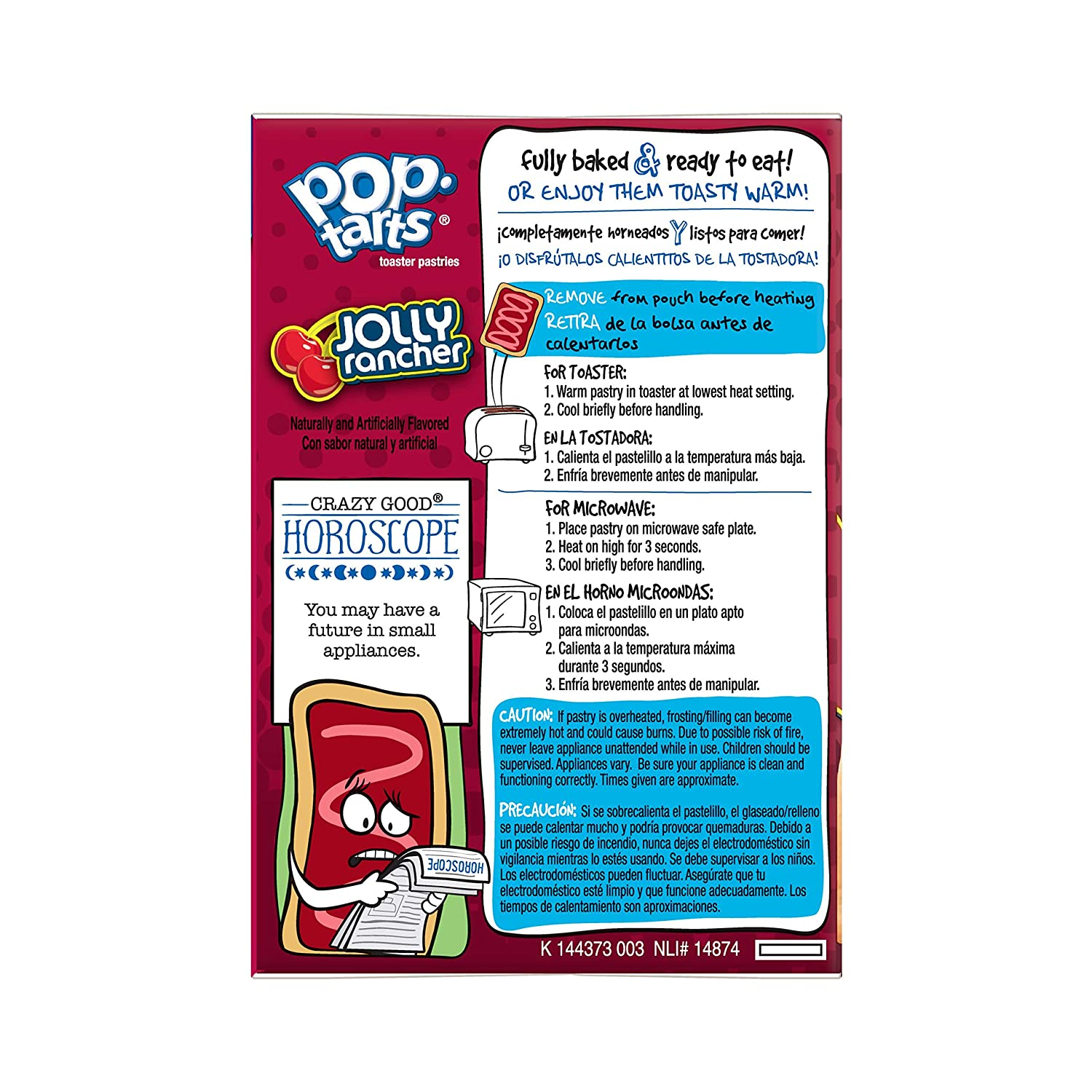 Amazon.com: Pop-Tarts Breakfast Toaster Pastries, Frosted JOLLY RANCHER Cherry Flavored, 14.1 oz (8 Count): Prime Pantry
