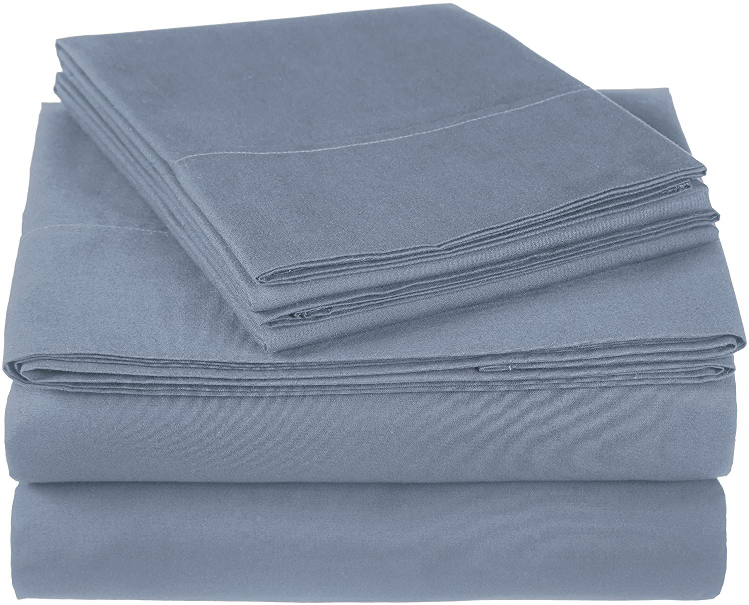 Pinzon 300 Thread Count Ultra Soft Cotton Bed Sheet Set, California King, Dusty Blue