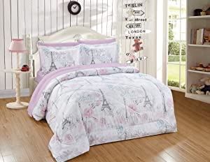 Better Home Style Pink White Grey Blue Floral Paris Eiffel Tower Bonjour Flowers Design 7 Piece Comforter Bedding Set Bed in a Bag with Complete Sheet Set # Paris Rose (Full)