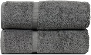 BC BARE COTTON Luxury Hotel & Spa Towel Turkish Cotton Bath Towels - Gray - Dobby Border - Set of 2