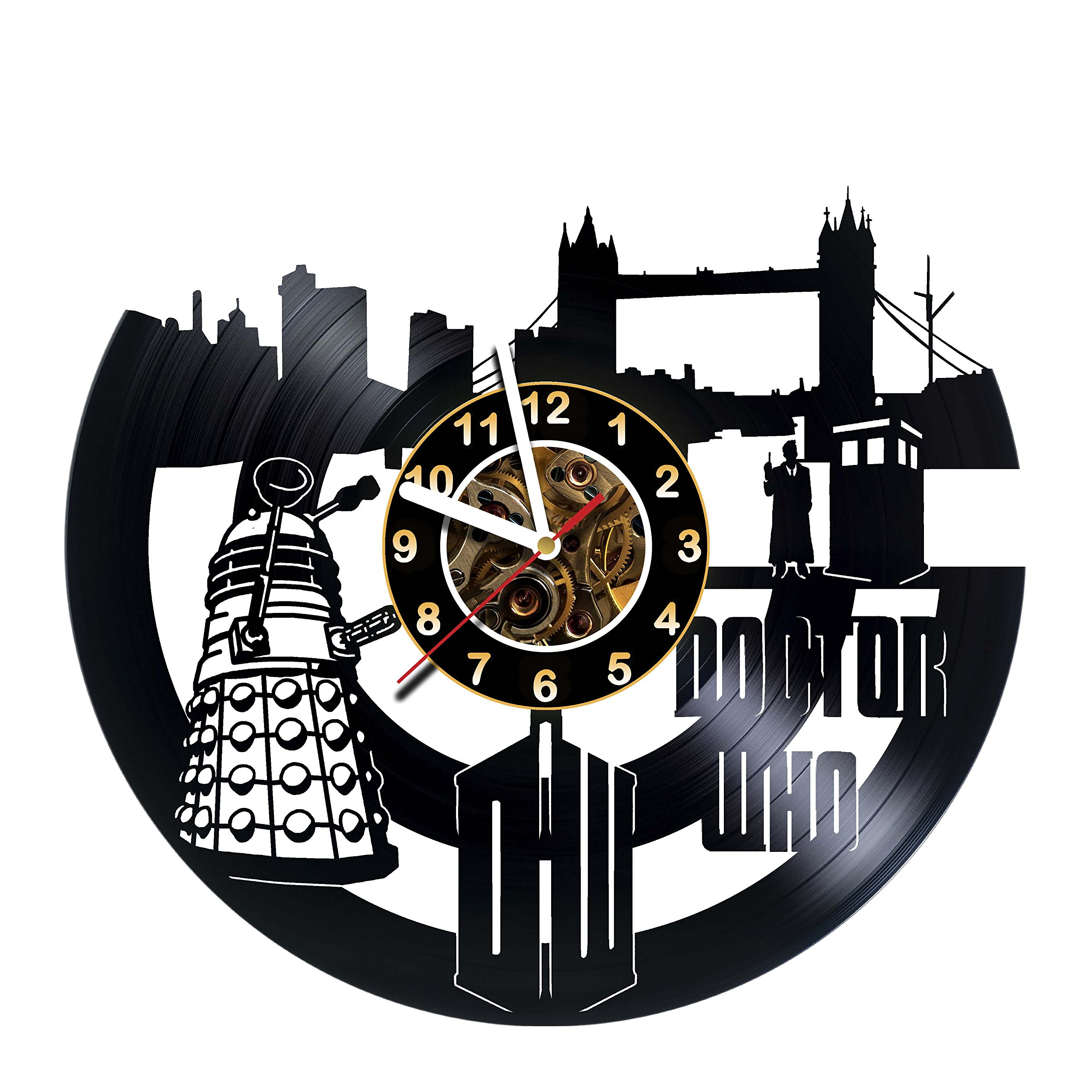 Tardis Doctor WHO - Vinyl Record Wall Clock - Poster - Christmas - Wall Art - Get unique living room wall decor - Gift ideas for adults, friends, men and women – Movie Unique Modern Wall ART Design