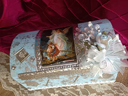 Amazon.com : Baptism Candle Set Blue Hand Made Wooden Chest/ Set De Vela Para Bautizo Azul : Other Products : Everything Else