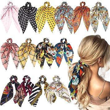63e7e35a0 WATINC 14 Pcs Bowknot Hair Scrunchies Silk Satin Scarf Hair Ties Chiffon Floral  Scrunchie 2 in