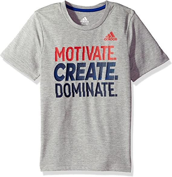 Grey Heather Adidas Boys Little Short Sleeve Moisture-Wicking Graphic T-Shirts 5