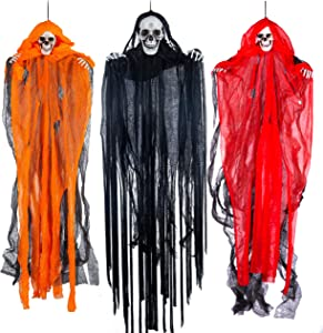 "Halloween Hanging Grim Reapers (3 Pack), One 35.4"" and Two 27.6"" Halloween Grim Reapers, Halloween Skeleton Flying Ghost for Haunted House Prop Décor, Halloween Outdoor Indoor Decor"