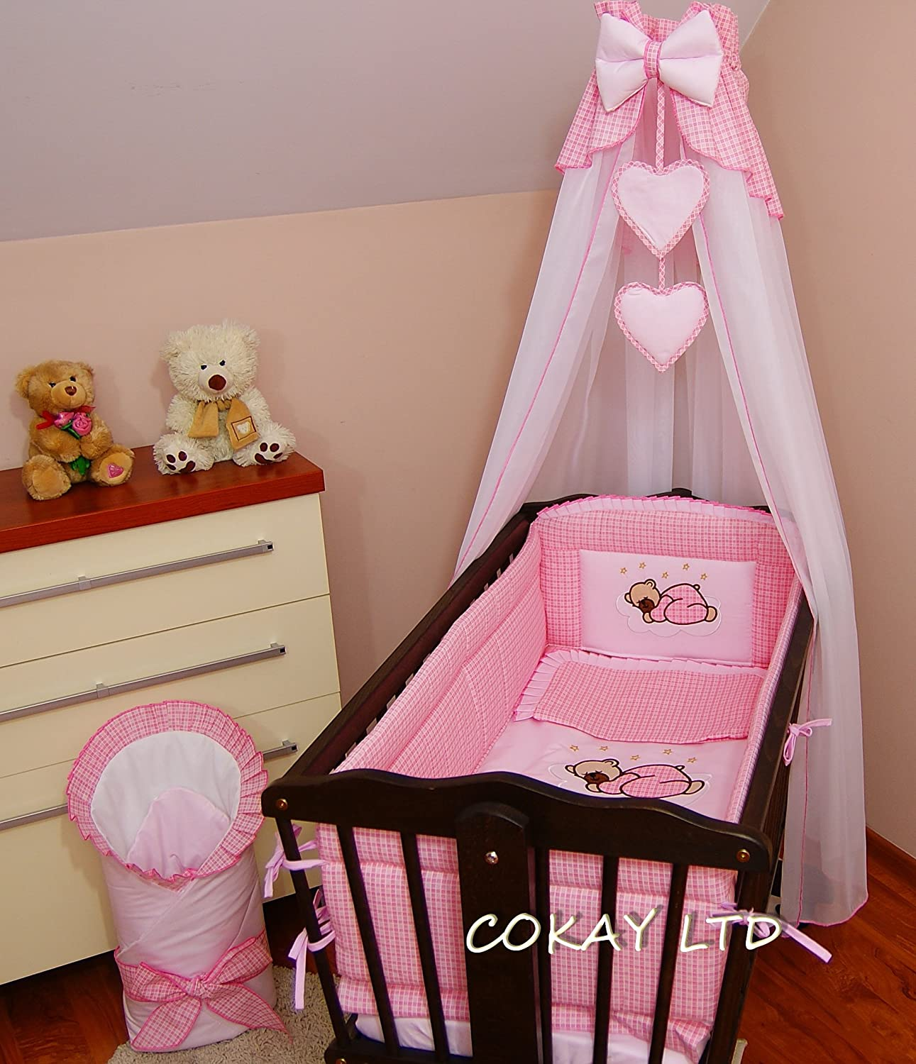 11 pcs CRIB bedding set //BumperALL ROUND//sheet//duvet//CANOPY//CANOPY DRAPE HOLDER