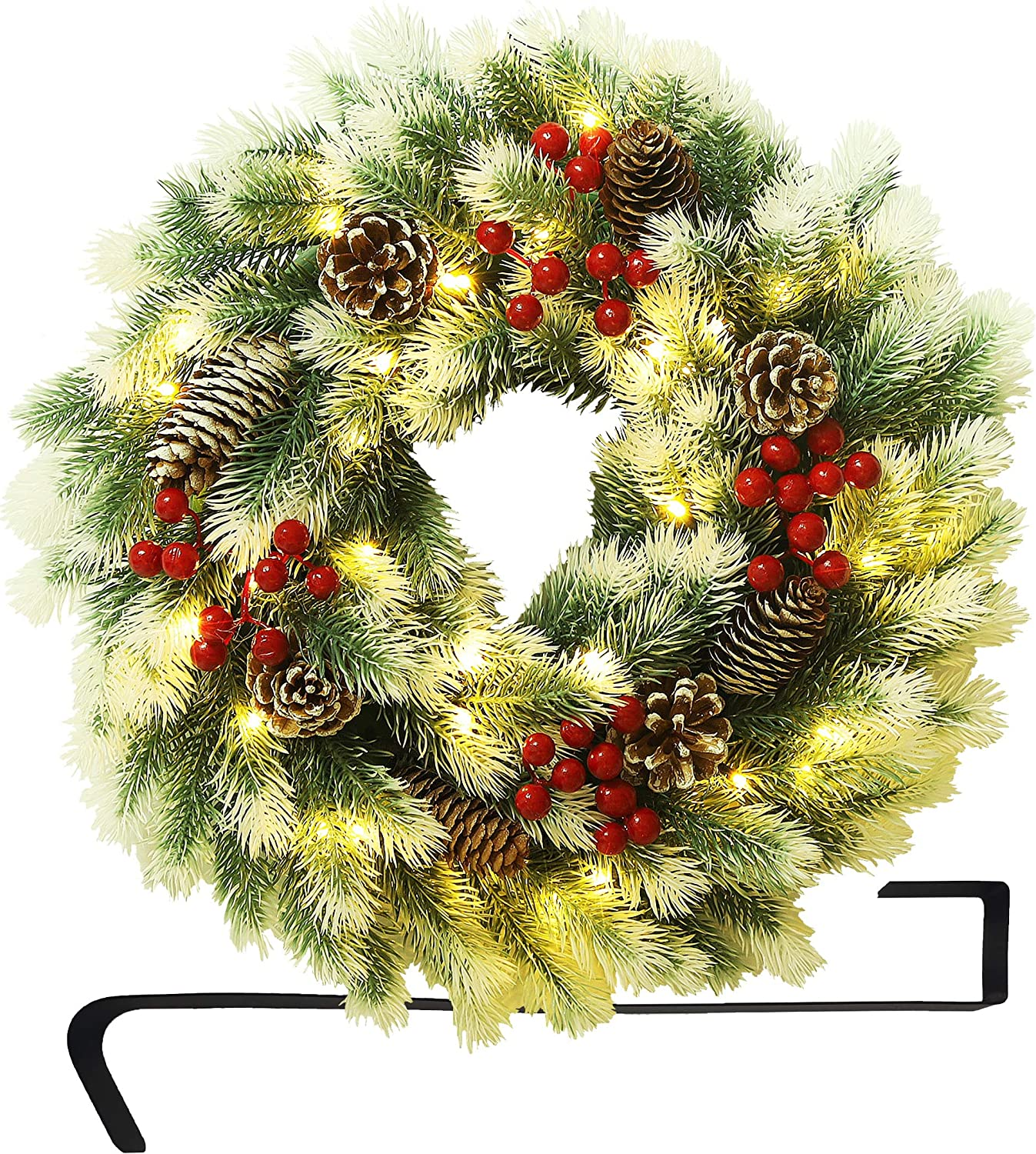 Atdawn 16 Inch Christmas Wreath Outdoor Lighted Christmas Wreath For Front Door Xmas Wreath For Winter Holiday Christmas Party Decorations Home Kitchen