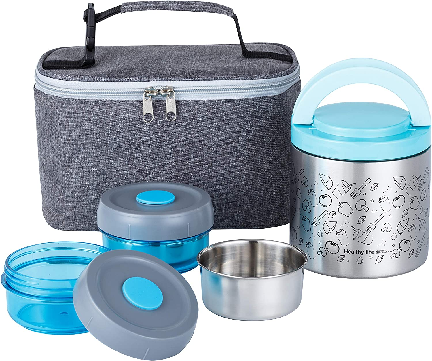 Lille Home Lunch Box Set, An Vacuum Insulated Lunch Box Keeping Food Warm for 4-6 Hours, Two BPA-Free Food Containers, A Lunch Bag (Blue)