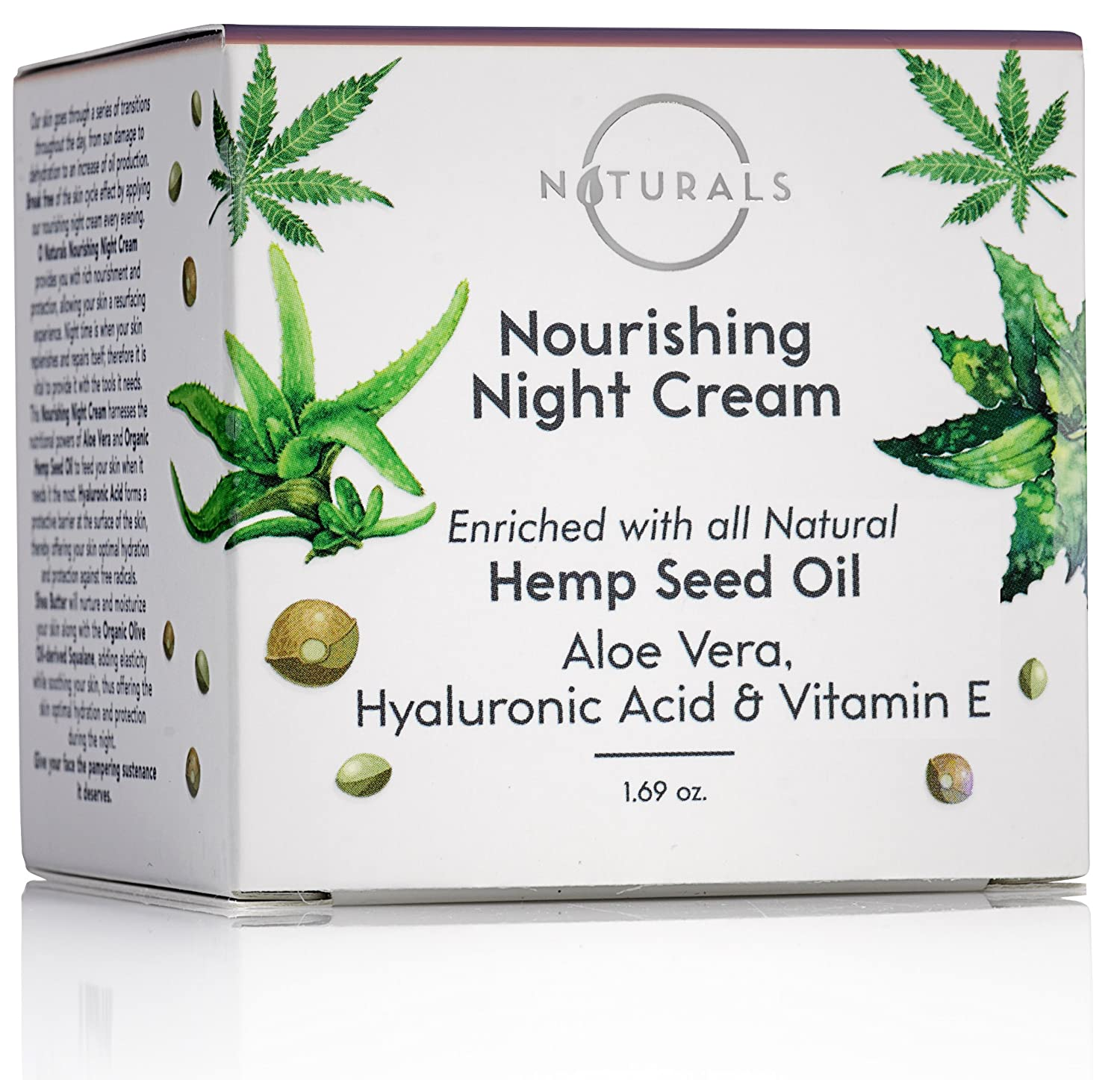 O Naturals Organic Hemp Seed Oil Anti-Aging Night Cream for Face & Neck. Moisturizes, Nourishes & Repairs Skin While Sleeping. Enriched with Hyaluronic Acid, Shea Butter & Vitamin E. 1.69 oz.