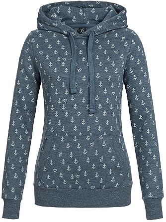 Sublevel Damen D1074L02500C Sweatshirt Kapuzen-Jacke Zip-Hood aus  Hochwertiger Baumwollmischung Meliert  Amazon.de  Bekleidung 0b2717a1dc