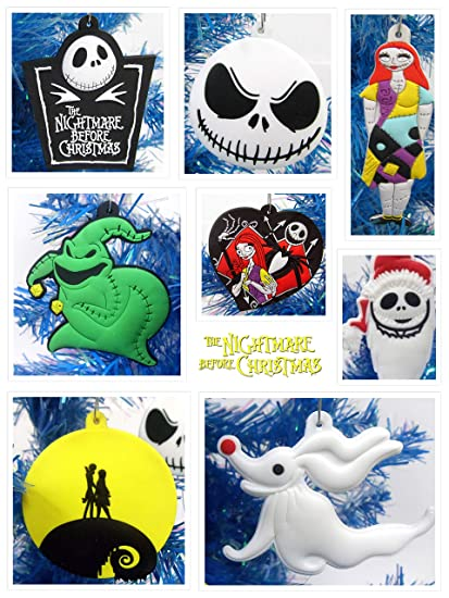 Nightmare Before Christmas 8 Piece Christmas Tree Ornament Set Featuring Jack Skellington And Friends Around 2 5 To 3 5 Tall