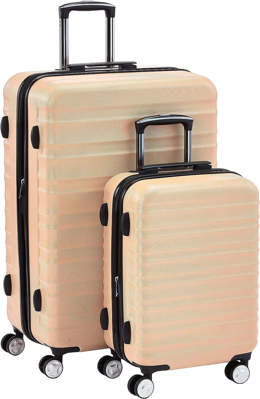 AmazonBasics - Juego de 2 maletas rígidas giratorias prémium (55 cm, 78 cm), rosa