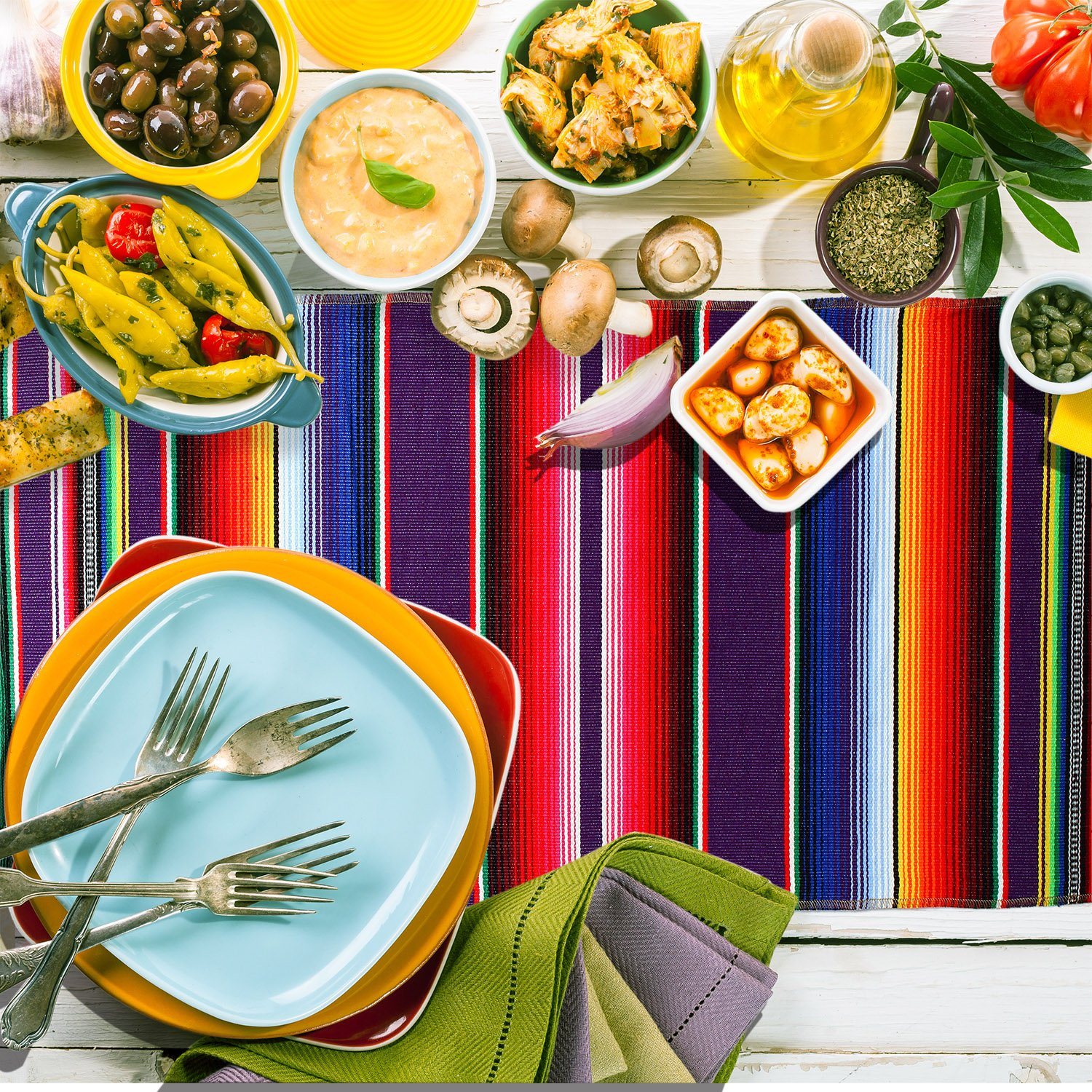 Aneco 2 Pack 14 by 84 Inch Mexican Table Runner Mexican Serape Blanket Cotton Colorful Fringe Table Runners for Mexican Party Wedding Kitchen Outdoor Decorations by Aneco (Image #6)