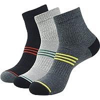 Balenzia Men's High Ankle Socks- Black, L.Grey, D.Grey(Pack of 3)