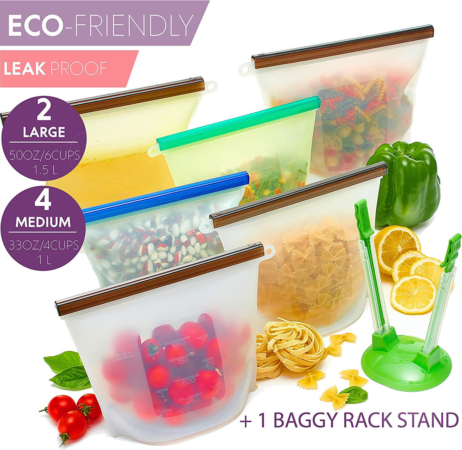 Reusable Silicone Food Ziplock Bags – Leak & Spill Proof – Eco-Friendly – Airtight Seal – Microwave & Freezer Safe – Dishwasher Washable – Large 1.5L & Medium 1L Bags with Stand – Set of 6 Clear Bags