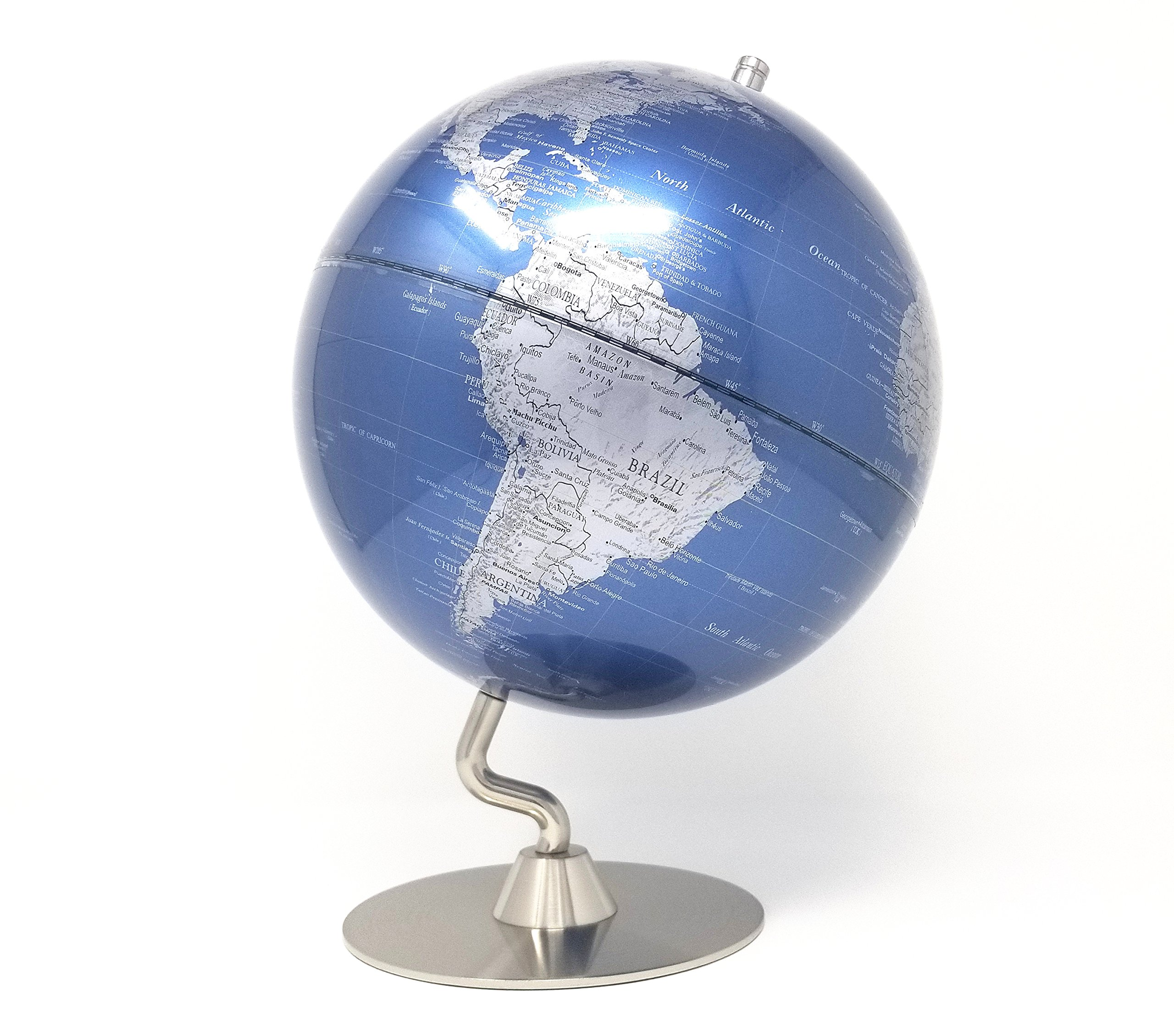 Metallic Premium Decorative Modern Home Office Desk Globe with Chrome Polished Metal Base for Home Décor and Educational Globe (Blue Ocean 10'' Diameter)