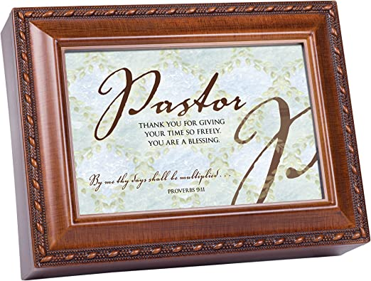 Pastor Thank You for Teaching Woodgrain Petite Music Box Plays How Great Thou Art
