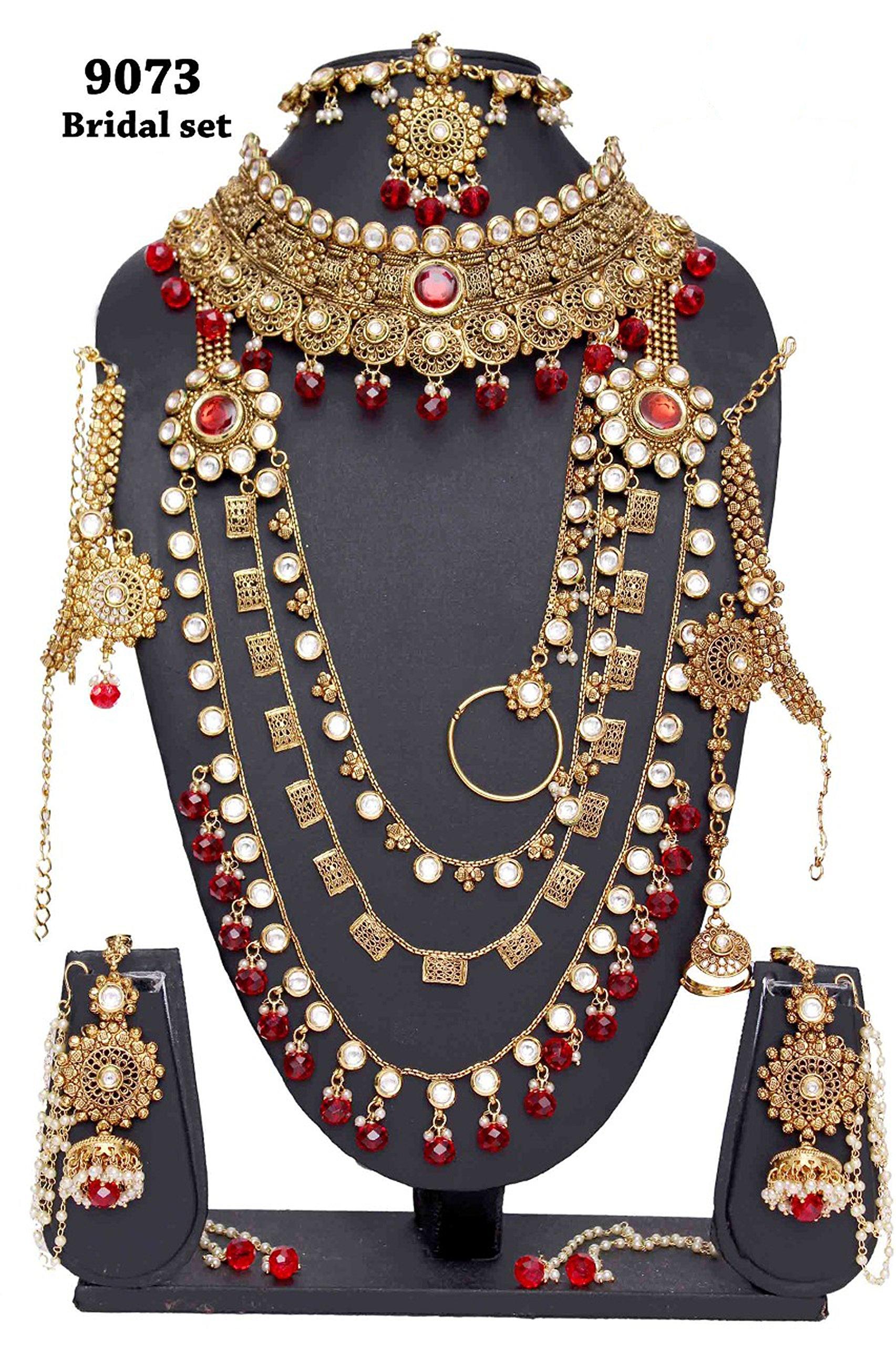 Ethnic Fabulous Indian Style Golden Plated Polki Kundan Stone Indian Necklace Earrings Bridal Set Partywear Jewelry