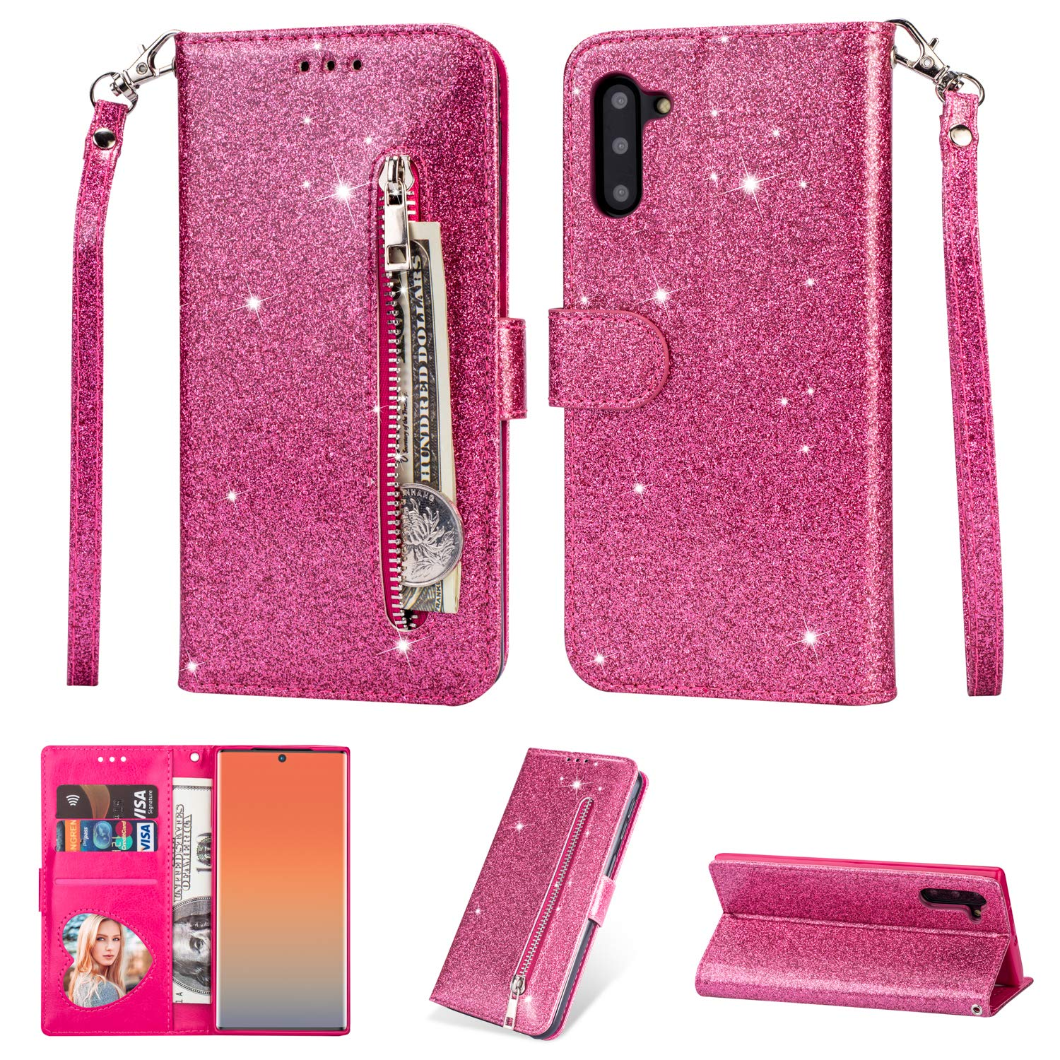 Tznzxm Galaxy Note 10 5G Case, Luxury Bling Glitter Sparkle PU Leather Magnetic Protective Flip Kickstand with Zipper Coin Credit Card Holder Cover Wrist Wallet for Samsung Note 10 5G Rose by Tznzxm