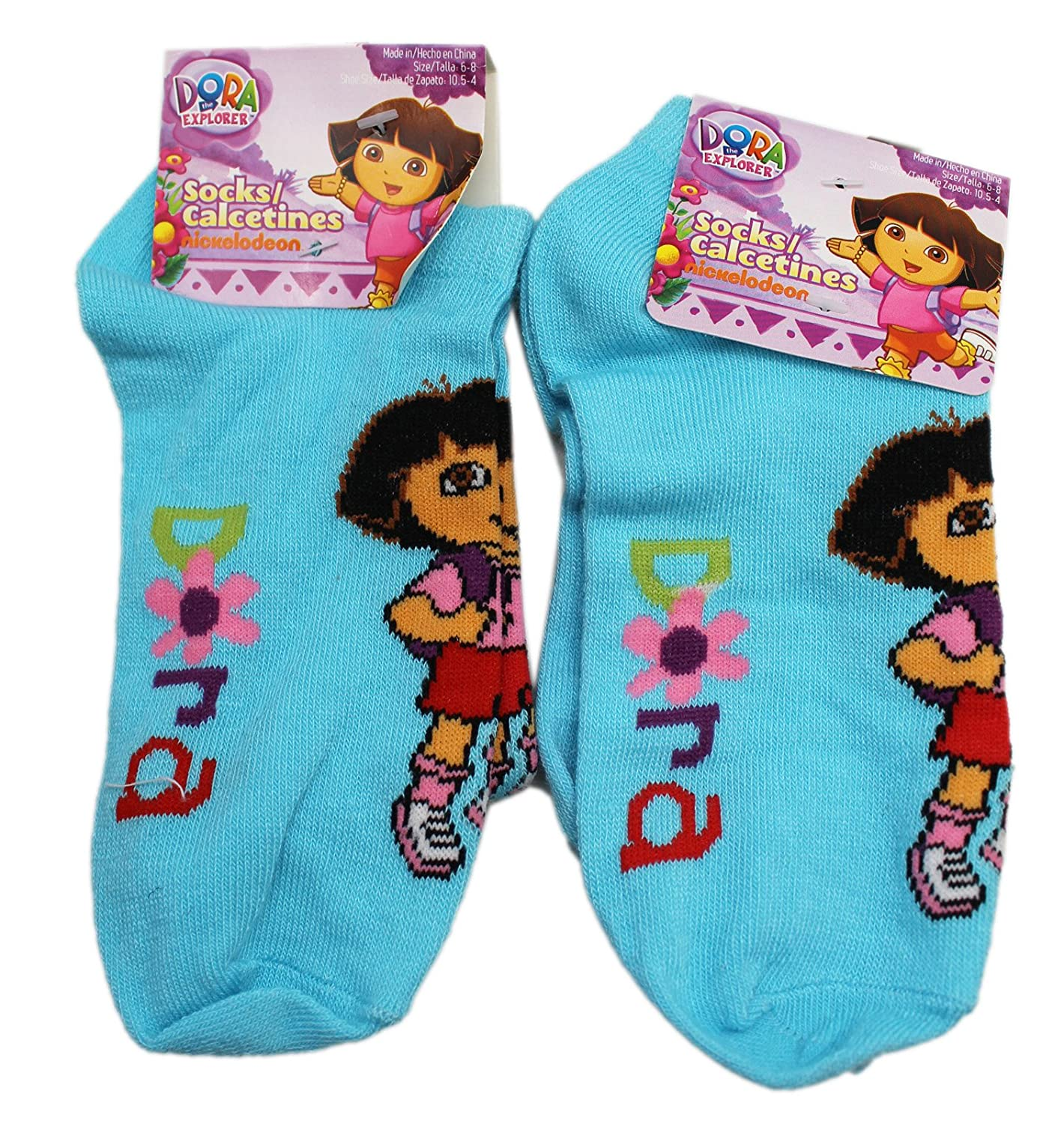 Amazon.com: Dora the Explorer Light Blue Floral Stylized Kids Socks (1 Pair, Size 6-8): Clothing