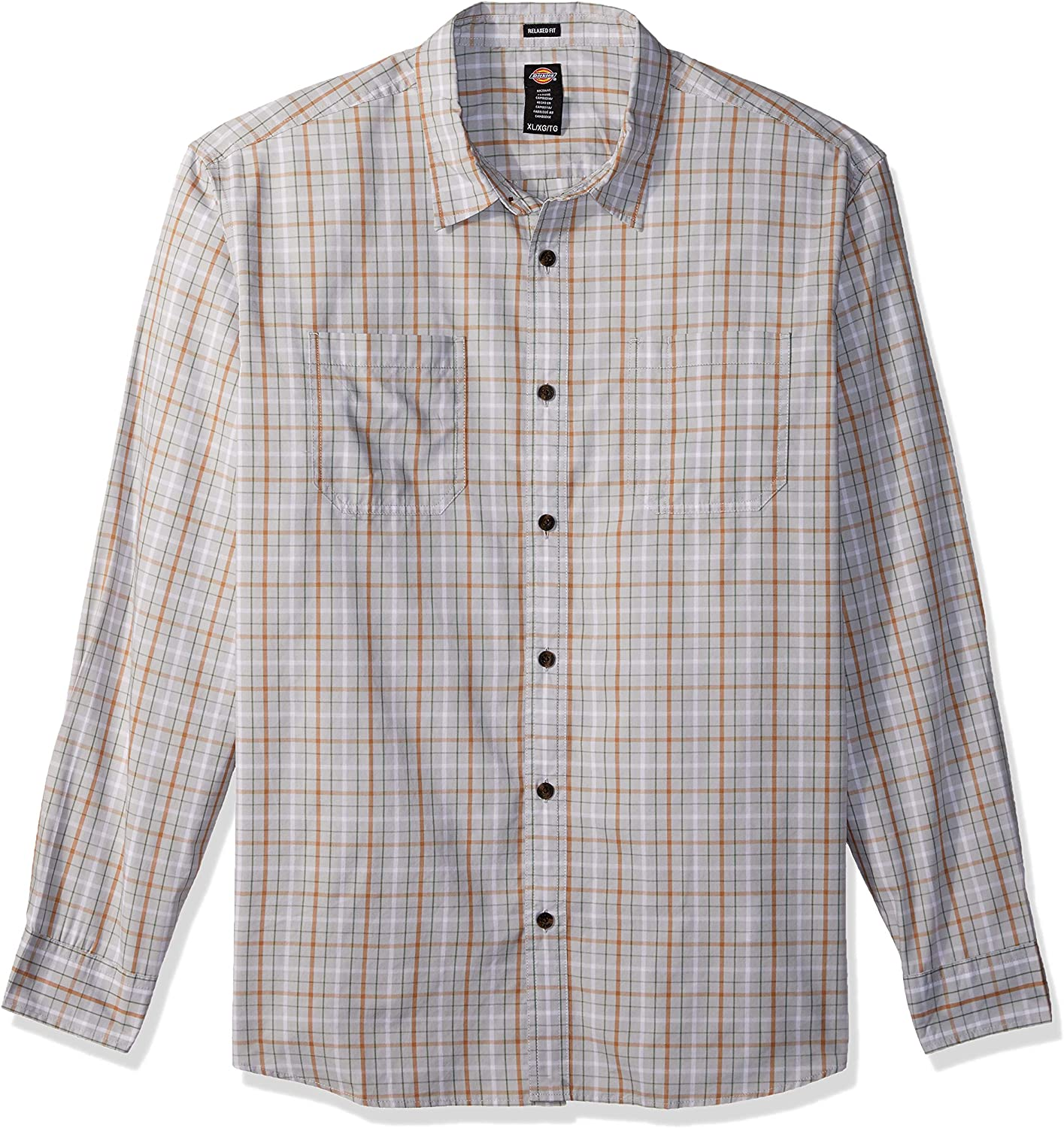 Dickies Mens Long Sleeve Relaxed Fit Yarn Dye Plaid Shirt