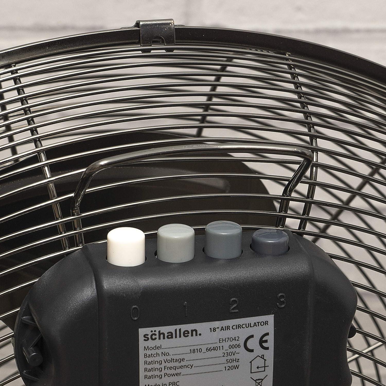 Schallen Gunmetal Grey Black Metal High Velocity Cold Air Circulator Adjustable Floor Fan with 3 Speed Settings 14