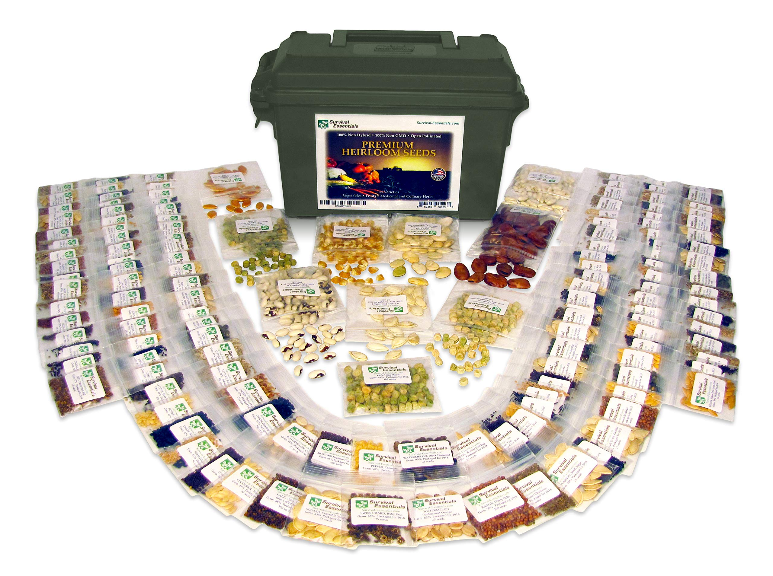 Survival Essentials 144 Variety Ultimate Heirloom Seed Vault for Survival and Preparedness - 23,335+ Non-GMO Heirloom Seeds Packed in Superior Ammo Can for Long-Term Storage and Maximum Shelf Life