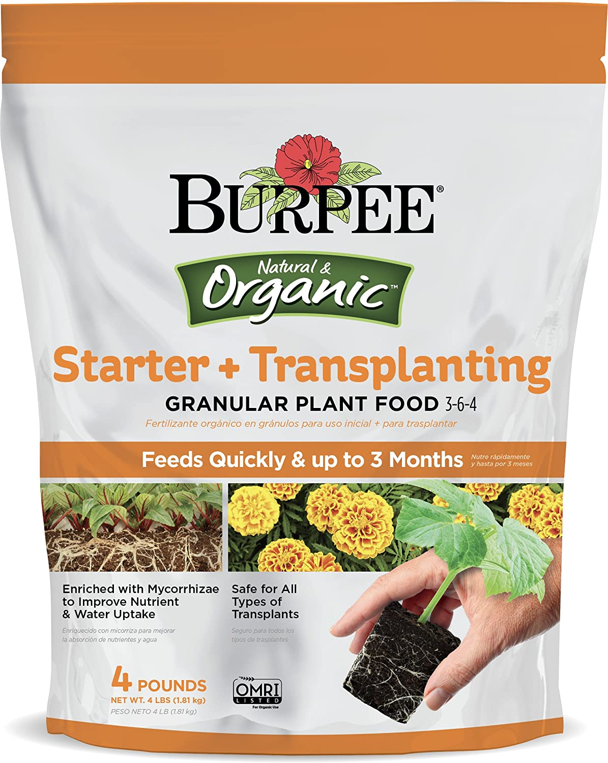 Amazon.com : Burpee Organic Starter and Transplanting Granular Plant Food, 4 lb : Garden & Outdoor