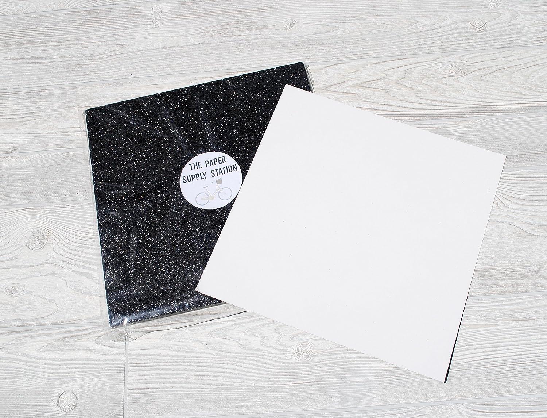 582212d27fe4 Amazon.com: Black Glitter Cardstock Paper Supply Station 15 Sheets 12