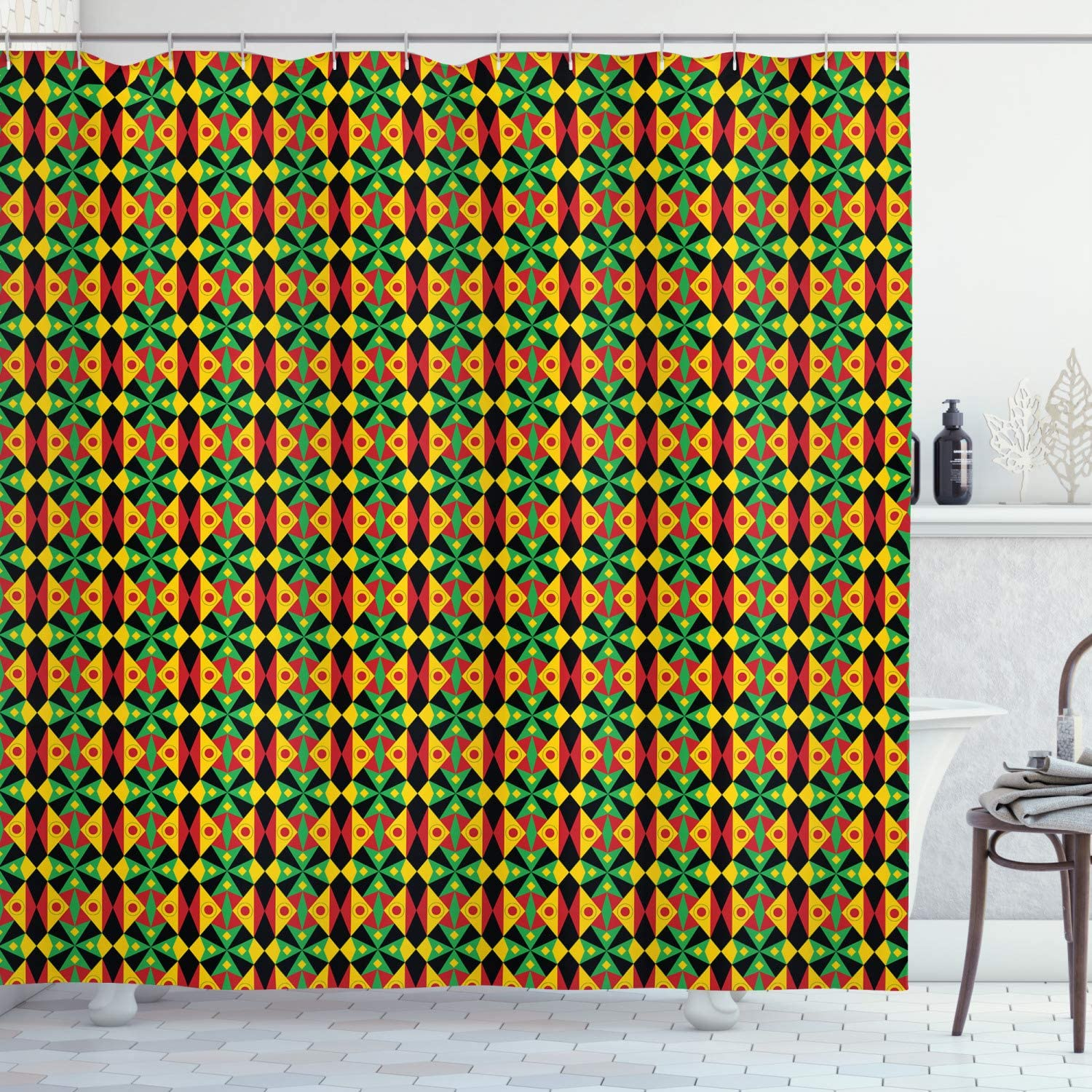 Ambesonne Kente Pattern Shower Curtain, Indigenous Heritage Tile Design with Triangles and Circles Namibia Botswana, Cloth Fabric Bathroom Decor Set with Hooks, 70