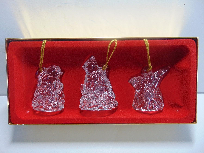 Gorham Crystal Holiday Birds Ornaments, Set of 3