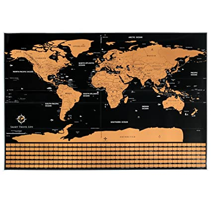 Amazon smart travel life scratch off world map traveler tracker smart travel life scratch off world map traveler tracker poster with scratchable flags premium size gumiabroncs Gallery